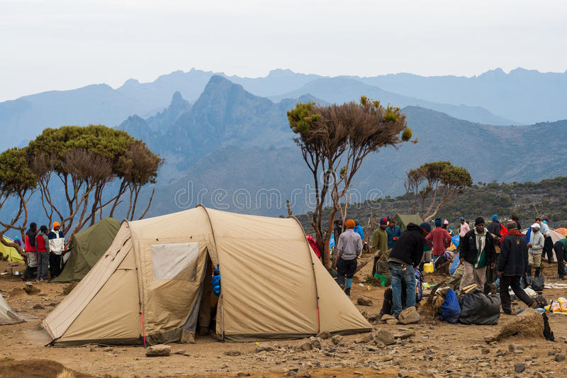 Tent camp on mountain royalty free stock images