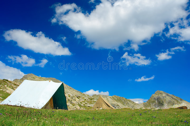 Tent camp at NP Pirin stock image
