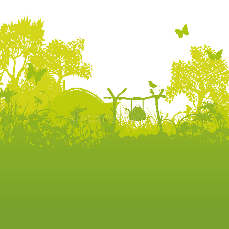 Tent and campsite in the grass and tents in the forest stock illustration
