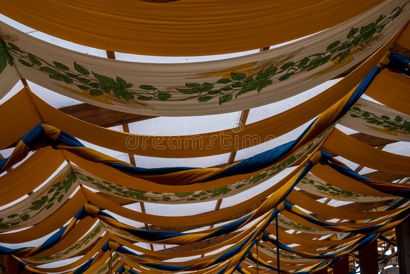 Tent ceiling. Decorated ceiling at a Oktoberfest tent stock photos