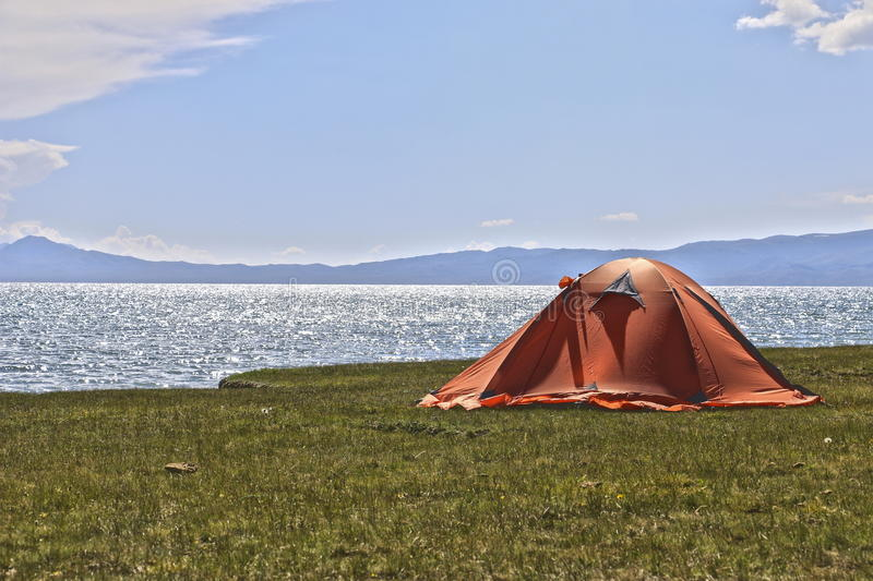 Tent on the coast of Son-Kul royalty free stock photo
