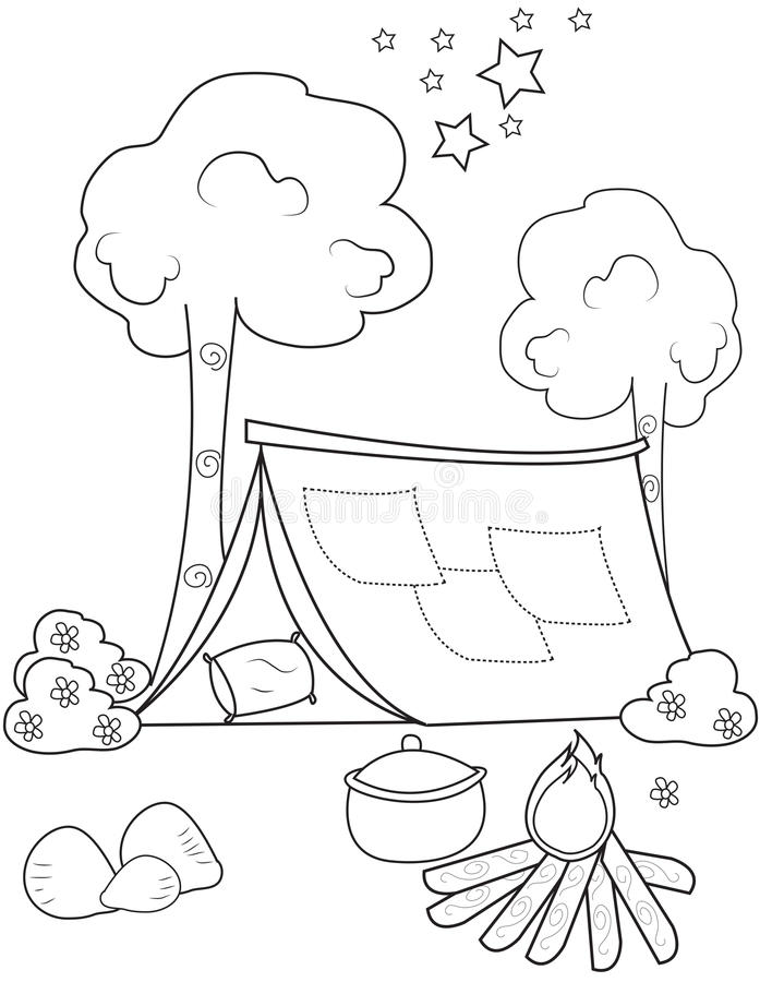 Tent coloring page stock illustration Illustration of design 50165726