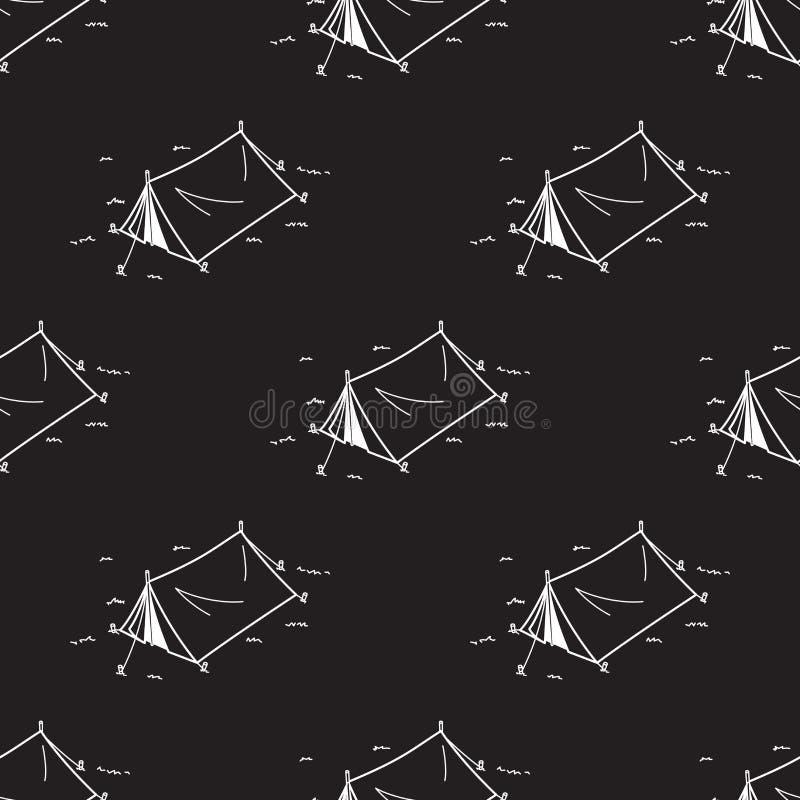 Tent de Naadloze Patroon het Kamperen achtergrond van het Picknick Vectorbehang royalty-vrije illustratie
