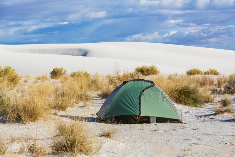 Tent in desert stock photography