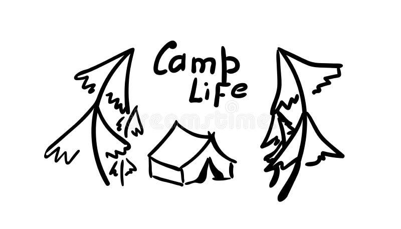Tent en bomen Hand - gemaakte illustratie in krabbelstijl wegembleem op autoglass, toeristensticker Het leven van het inschrijvin vector illustratie