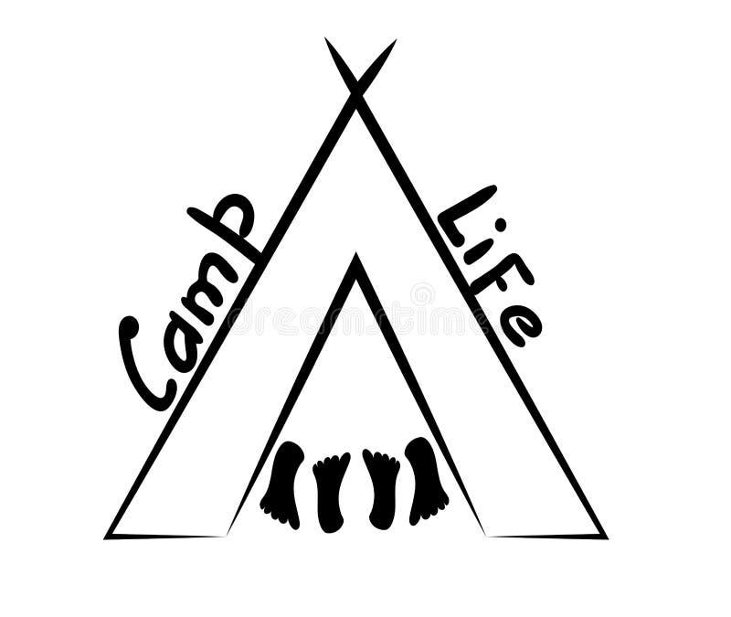 Tent en vier hielen Inschrijving Kemp Life Vectorillustratie in lineaire stijl royalty-vrije illustratie