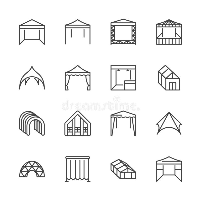 Tent flat line icons. Event pavilion, trade show awning, outdoor wedding marquee, canopy vector illustrations. Thin. Signs of mobile party booth. Pixel perfect stock illustration