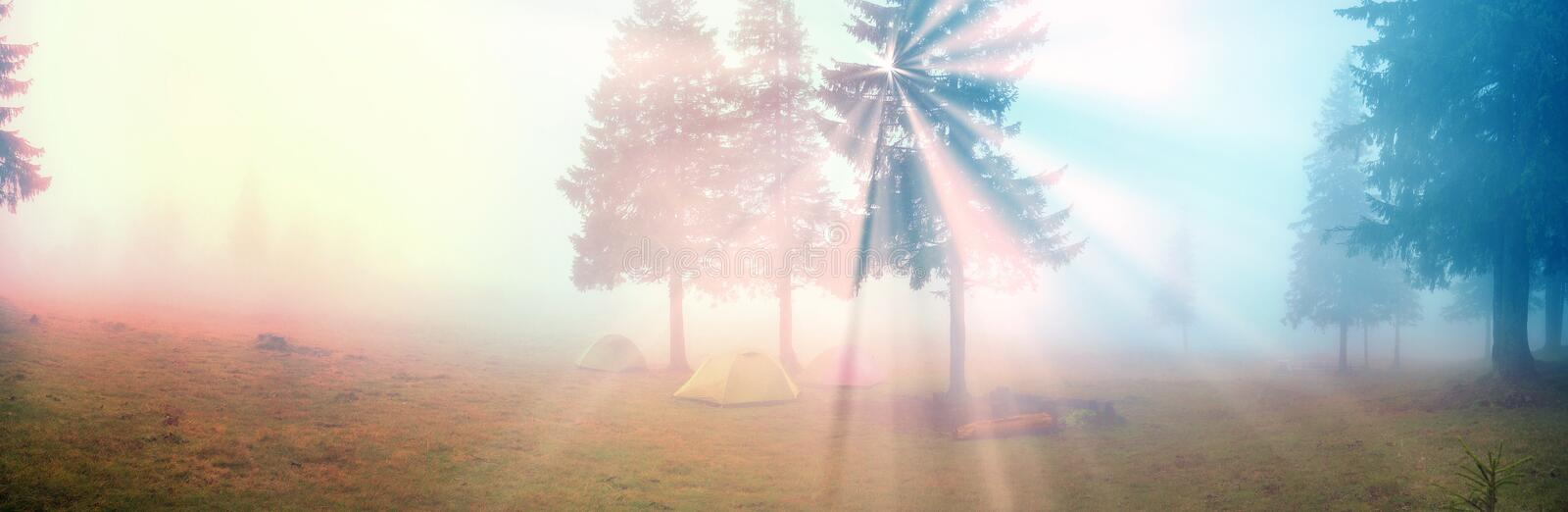 Tent in the fog royalty free stock image