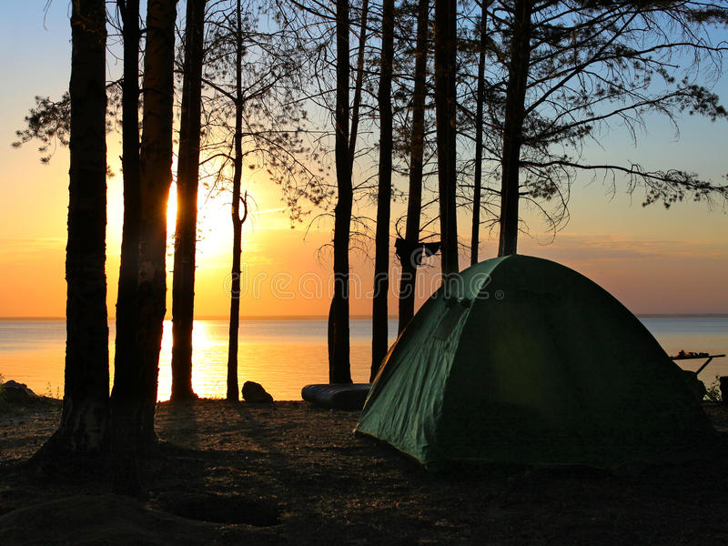 Tent in the forest royalty free stock photos