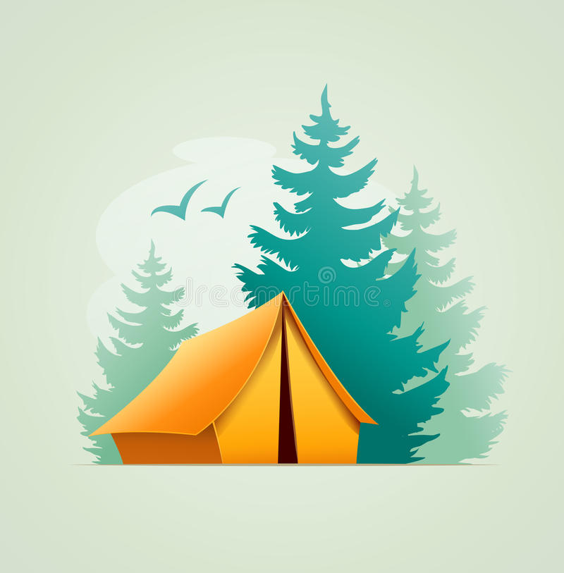 Tent in forest camping stock illustration