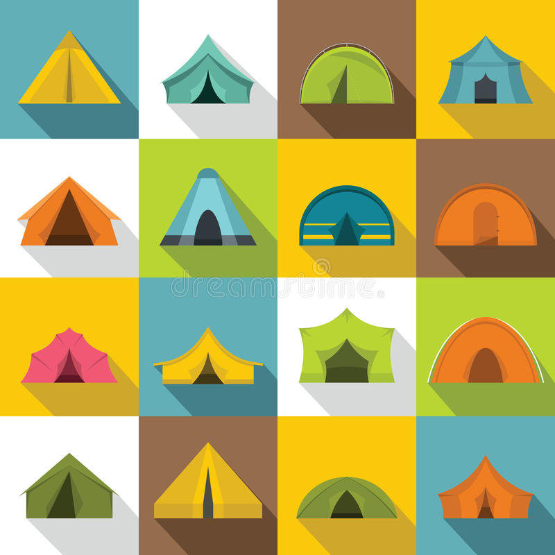 Tent forms icons set, flat style stock illustration