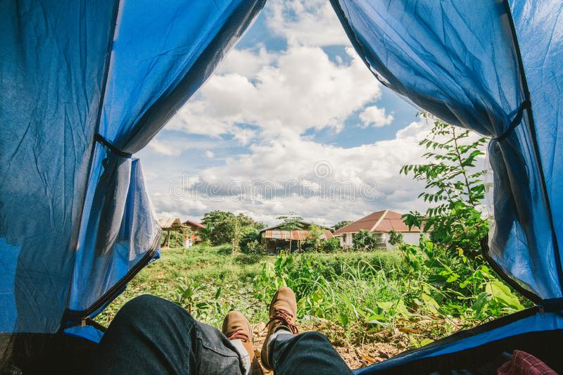 Tent glows lookout on a Camp in the Sky and cloud . Holiday of  relaxing outdoor camping concept stock image