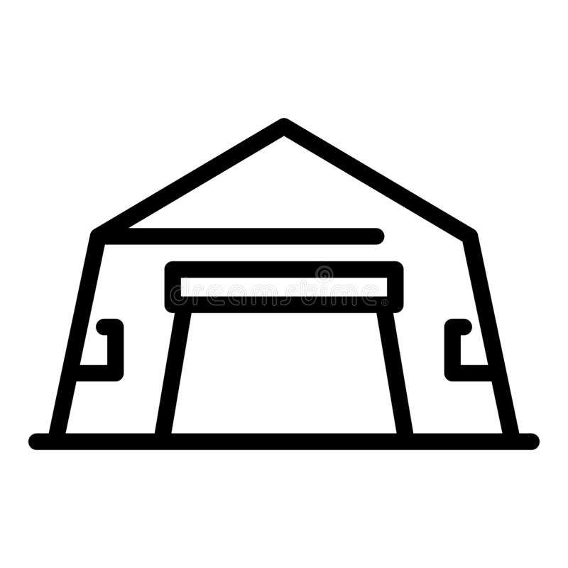 Tent hangar icon, outline style stock illustration