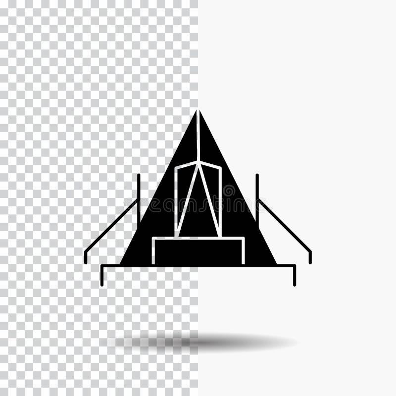 tent, het kamperen, kamp, kampeerterrein, openluchtglyph-Pictogram op Transparante Achtergrond Zwart pictogram royalty-vrije illustratie