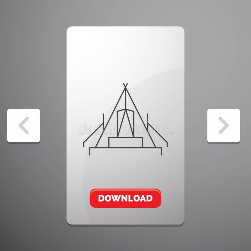 tent, het kamperen, kamp, kampeerterrein, openluchtlijnpictogram in Carousal het Ontwerp van de Pagineringschuif & Rode Downloadk vector illustratie