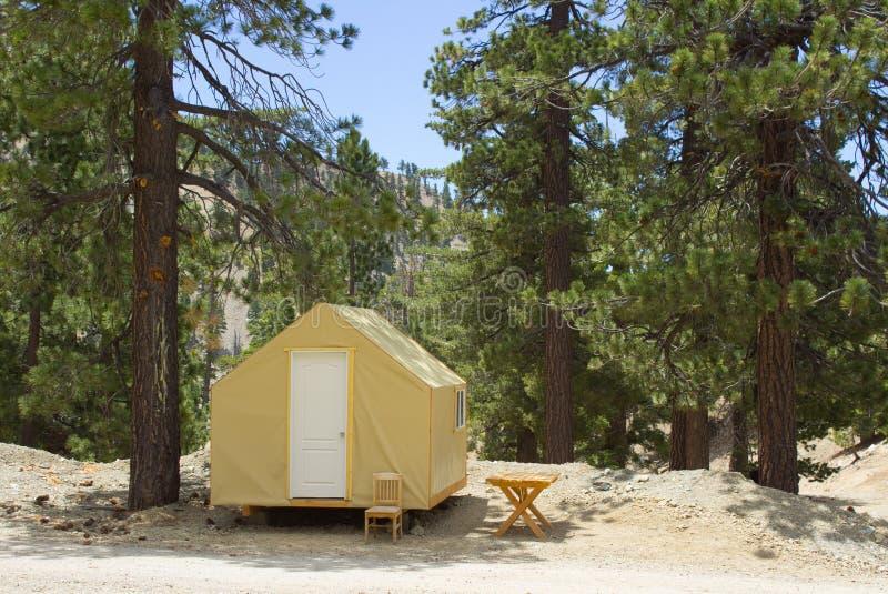 Tent i skogen royaltyfri foto