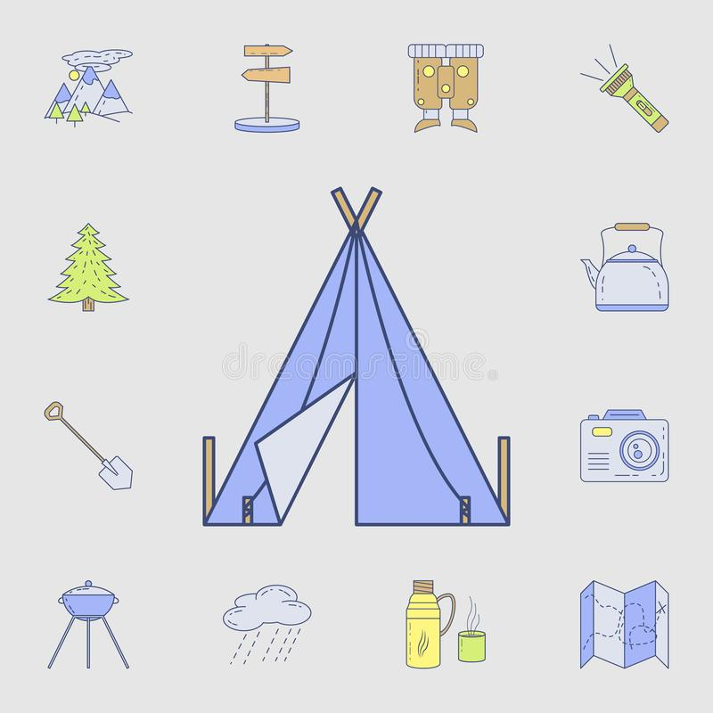 tent icon. Detailed set of color camping tool icons. Premium graphic design. One of the collection icons for websites, web design royalty free illustration