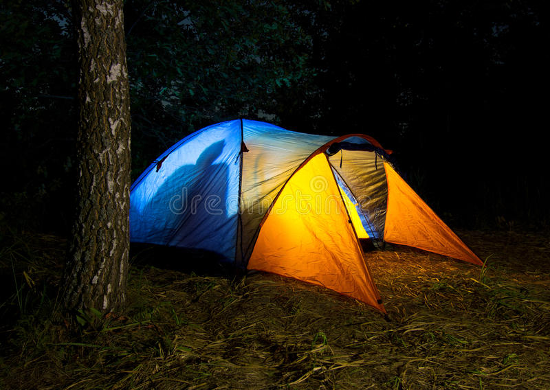 Download Tent Illuminated From The Inside Stock Photo - Image of glowing, leisure: 26149678