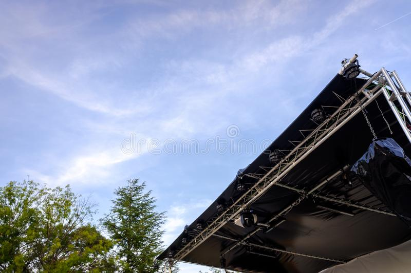 Tent installed for the celebration of an event and concert of outdoor music.  royalty free stock photos