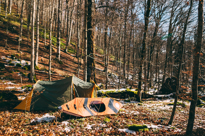 Tent and kayak in the forest. Winter forest in Montenegro, Natio royalty free stock images