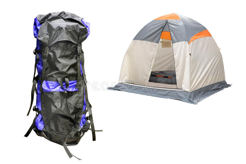 Tent and knapsack. The image of tent and knapsack under the white background stock image