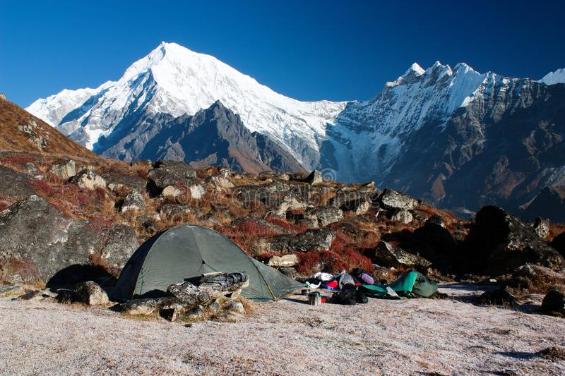 Download Tent and langtang peak stock image. Image of scene, area - 23151839