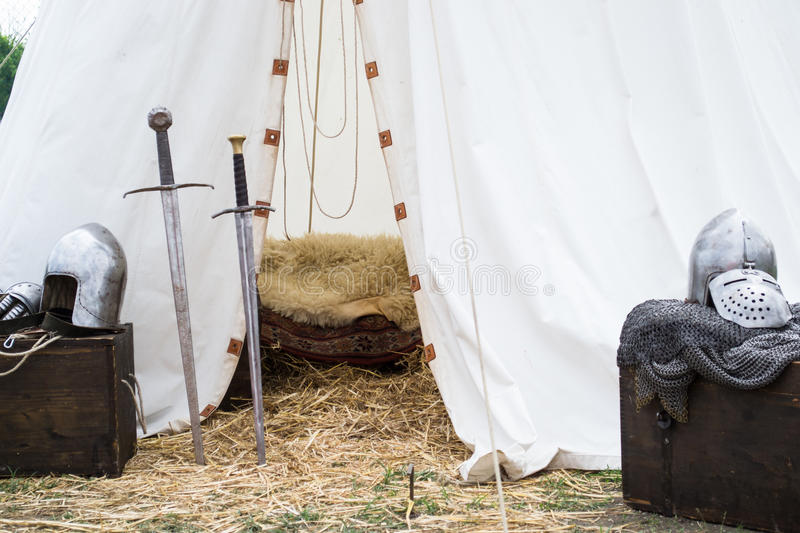 Tent of medieval knights stock photography