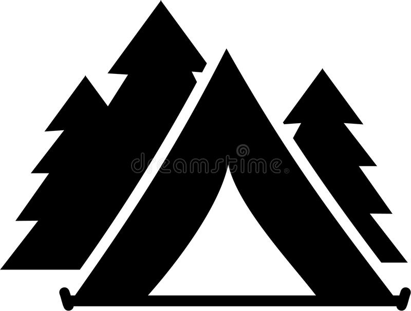 Tent met bomen stock illustratie