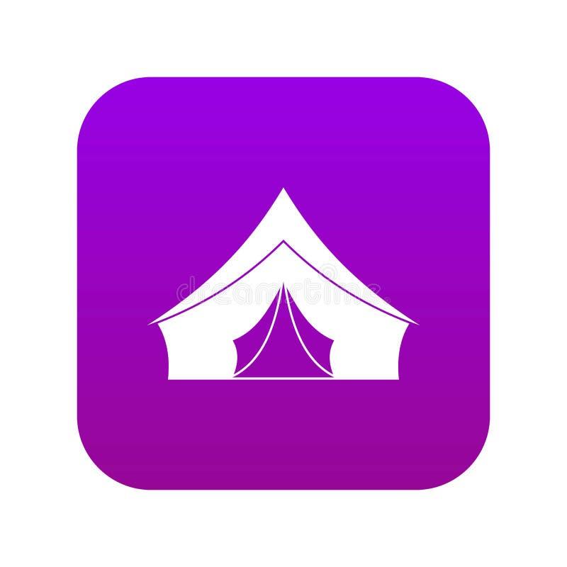 Tent met driehoekige digitale purple van het dakpictogram vector illustratie