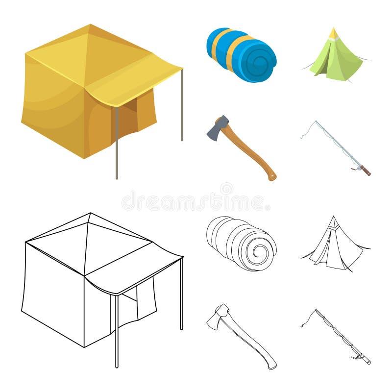 Tent met het afbaarden, bijl en andere toebehoren Pictogrammen van de tent de vastgestelde inzameling in beeldverhaal, vector het vector illustratie