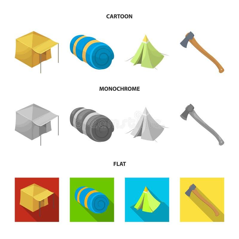 Tent met het afbaarden, bijl en andere toebehoren Pictogrammen van de tent de vastgestelde inzameling in beeldverhaal, vlak, zwar vector illustratie