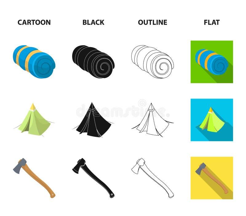 Tent met het afbaarden, bijl en andere toebehoren Pictogrammen van de tent de vastgestelde inzameling in beeldverhaal, zwarte, ov stock illustratie