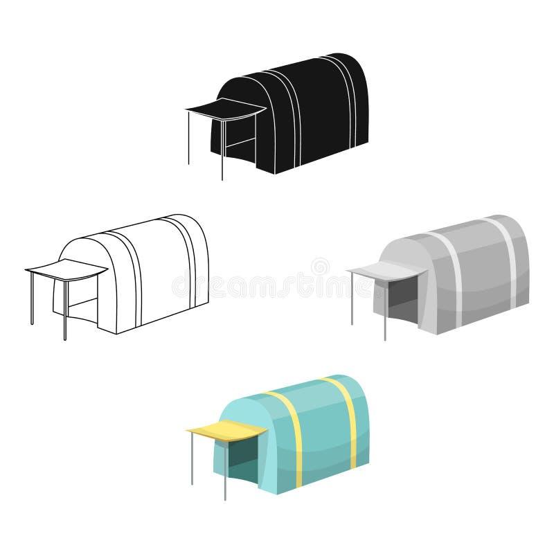 Tent met het afbaarden Tent enig pictogram in beeldverhaal, het zwarte Web van de de voorraadillustratie van het stijl vectorsymb vector illustratie