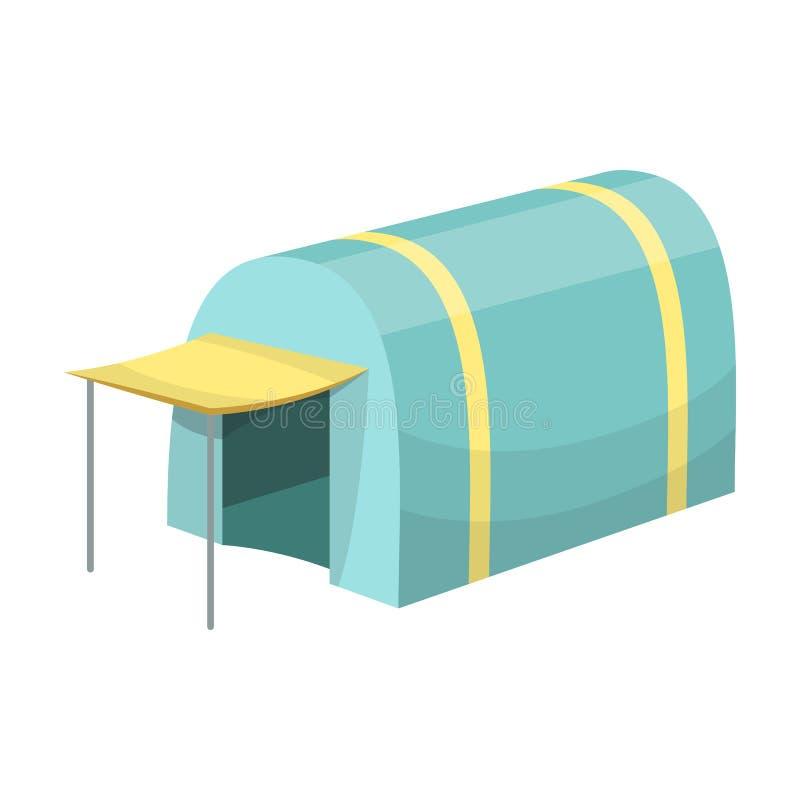 Tent met het afbaarden Tent enig pictogram in illustratie van de het symboolvoorraad van de beeldverhaalstijl de vector vector illustratie