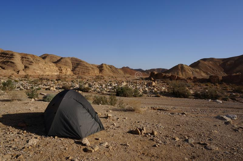 Tent in the middle of Negev desert, close to Makhtesh Ramon. Israel national trail. royalty free stock photo