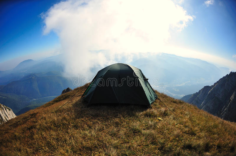 Download Tent On Mountain Cliff Edge With Blue Sky Waiting Stock Photo - Image 11241688 & Tent On Mountain Cliff Edge With Blue Sky Waiting Stock Photo ...