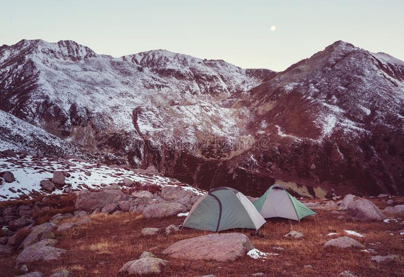 Tent in mountains. Tent in the mountains royalty free stock image