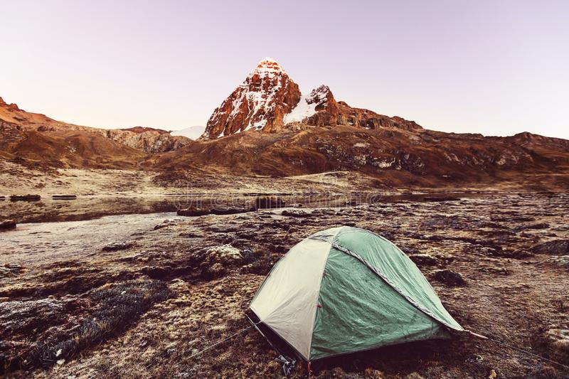 Tent in mountains royalty free stock photos
