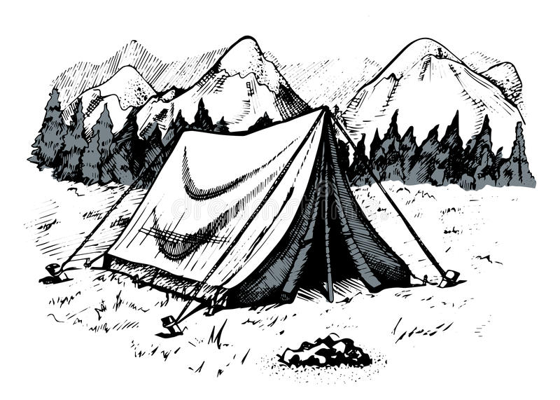 Download Tent In Mountains Mountain Landscape Stock Vector