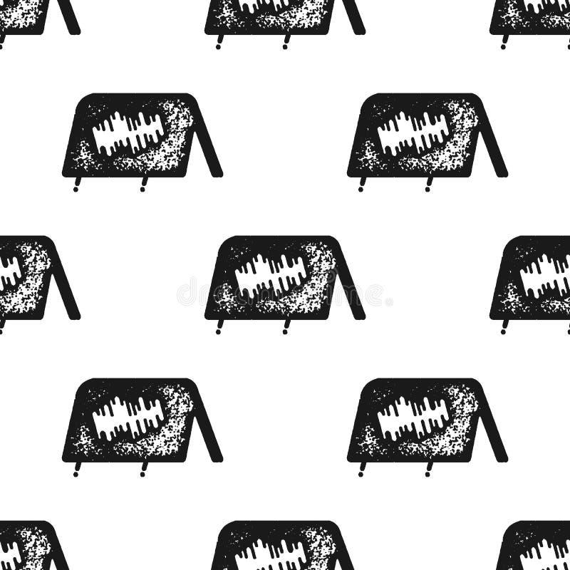 Tent naadloos patroon in silhouet retro stijl Uitstekend hand getrokken het kamperen symbolenbehang Voorraad vectorachtergrond vector illustratie