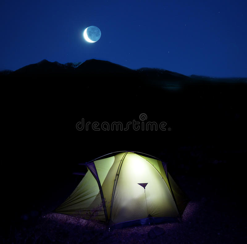 Tent in night royalty free stock photography
