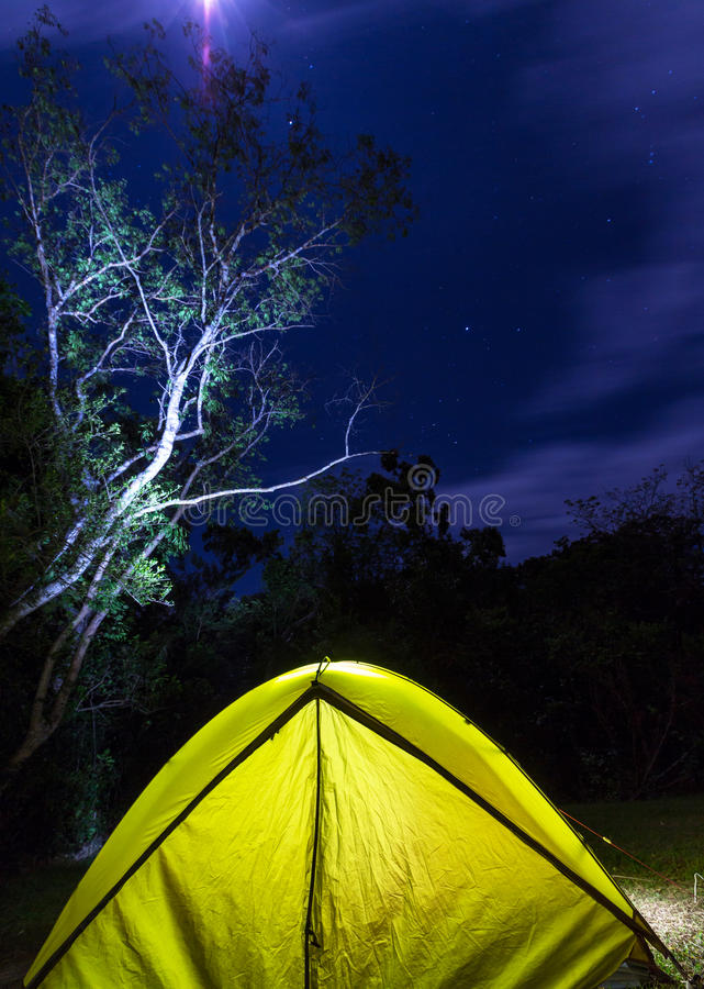 Tent in night stock image