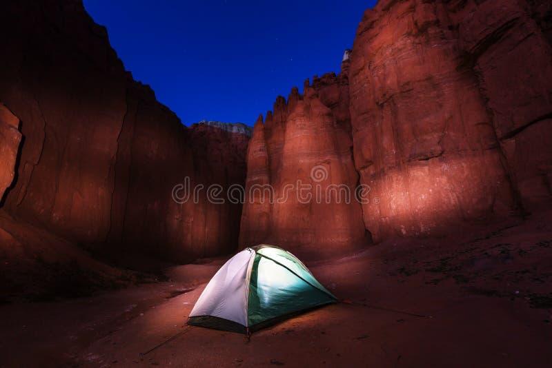 Tent in night stock photo
