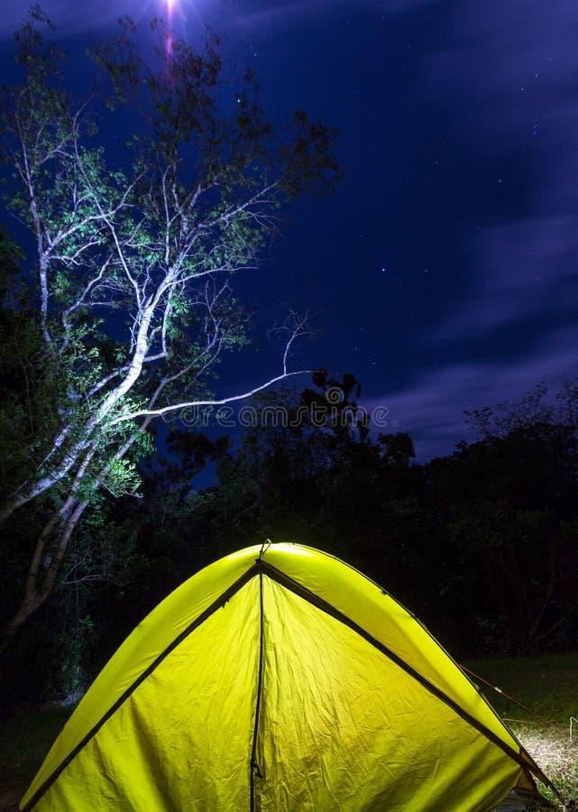 Tent in night stock photos