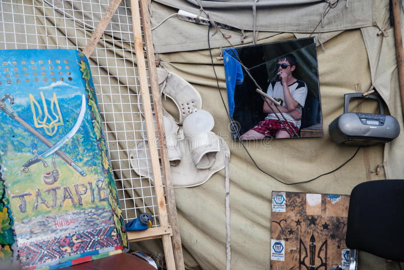 Tent op Maidan en het inwoner stock foto