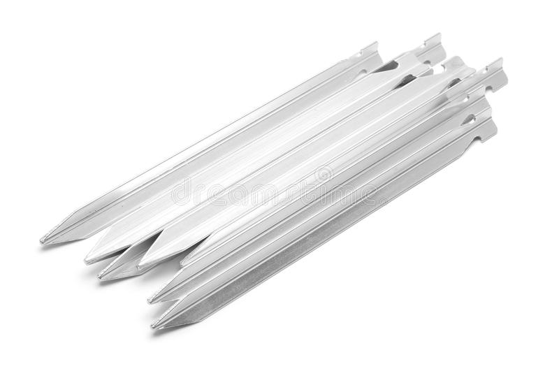 Tent pegs stock image