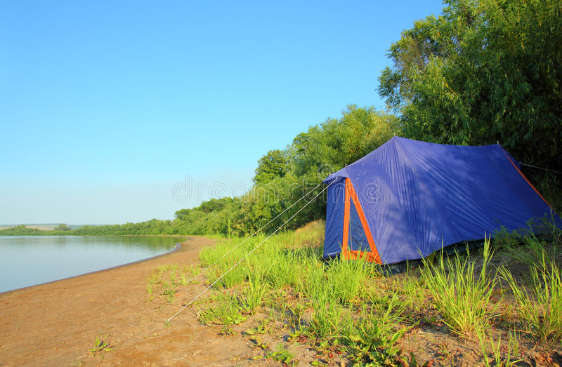 Download Tent on river beach stock image. Image of campsite, clear - 15756395