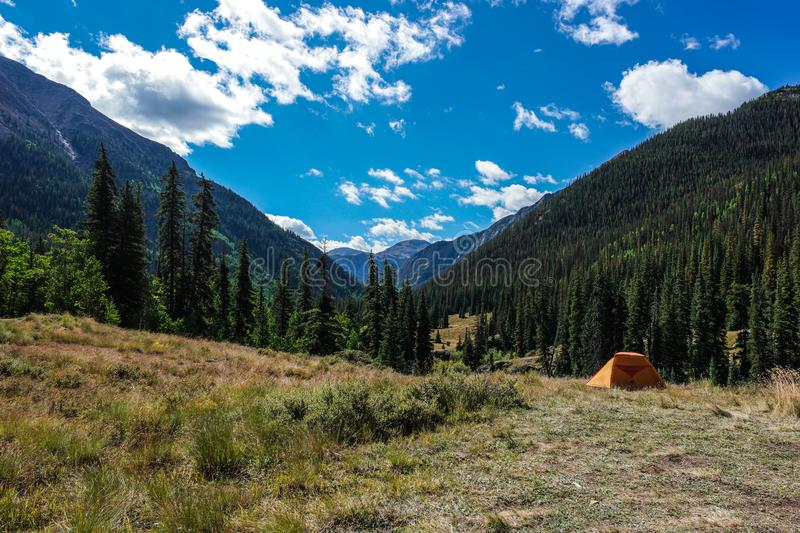 A lone tent in the Colorado Rocky Mountains stock photography
