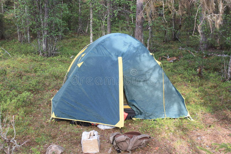 Tent of a tourist in the forest. stock photo