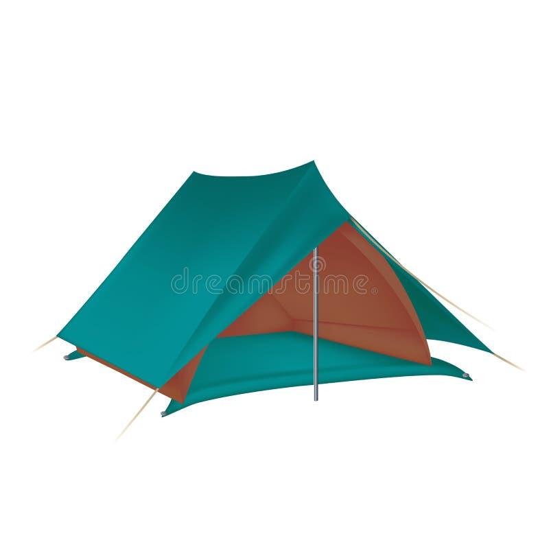 Tent. Vector image of green big camping tent vector illustration